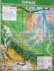 Map of Cochabamba-Beni highway and TIPNIS