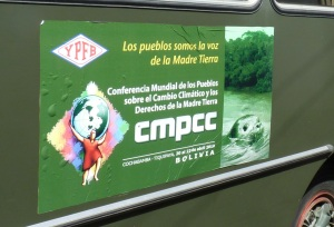 Bus ad at Cochabamba Climate Summit'