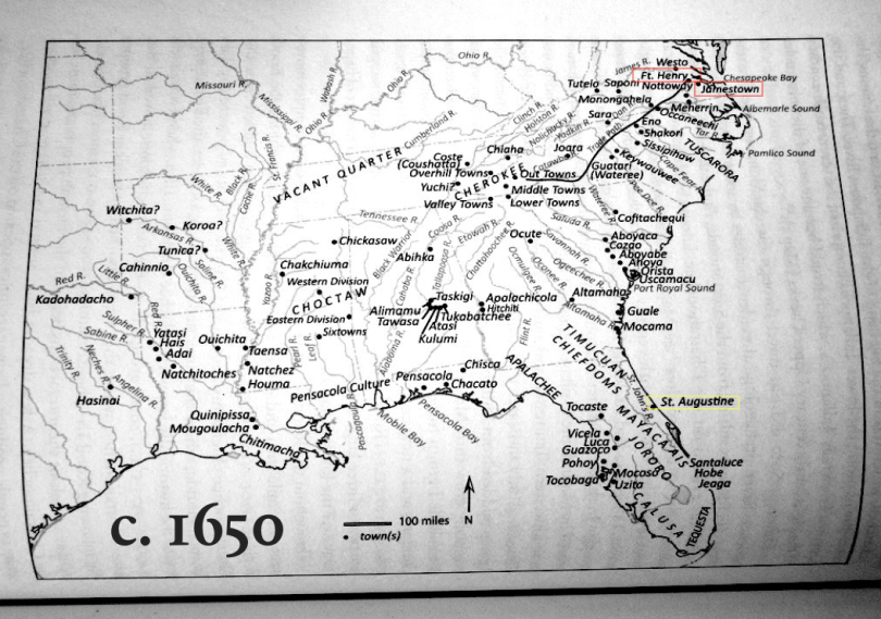 map of the future southeastern United States showing known towns in 1650