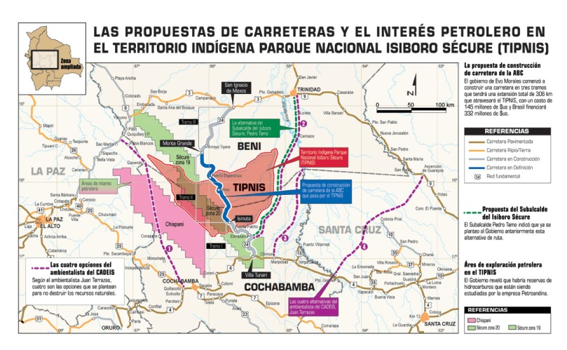 Four alternative routes appear in purple in this map of possible Cochabamba–Beni highway trajectories.