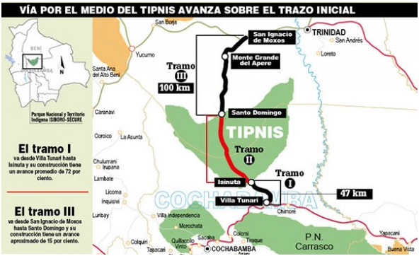 Map of the three segments (or Tramos) of Villa Tunari–San Ignacio de Moxos Highway
