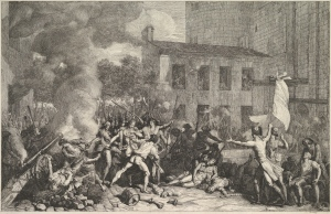 Etching depicting the assault of the Bastille