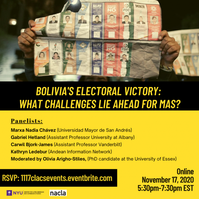NACLA Panel on Bolivia's Electoral Victory: What Challenges Lie Ahead For MAS?
