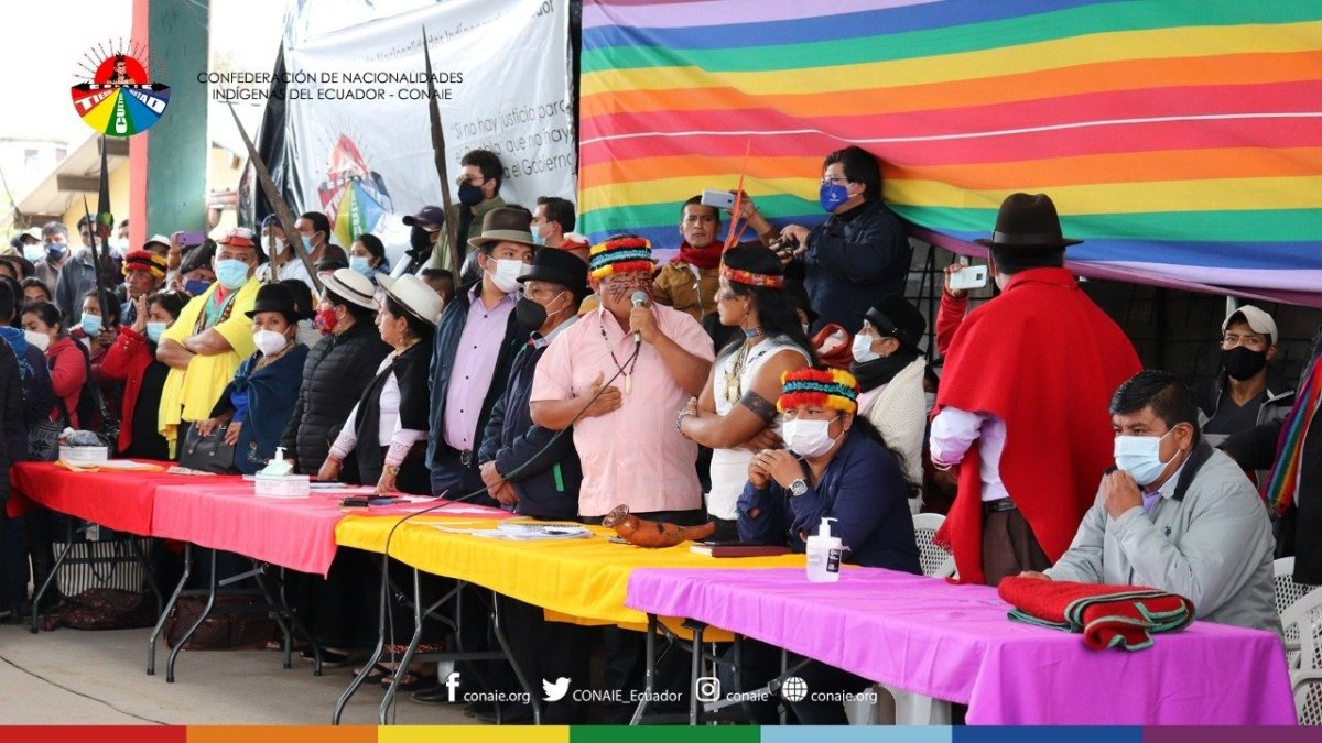 Ecuadorian indigenous leaders gather in March to advocate null votes in the second round of presidential elections.